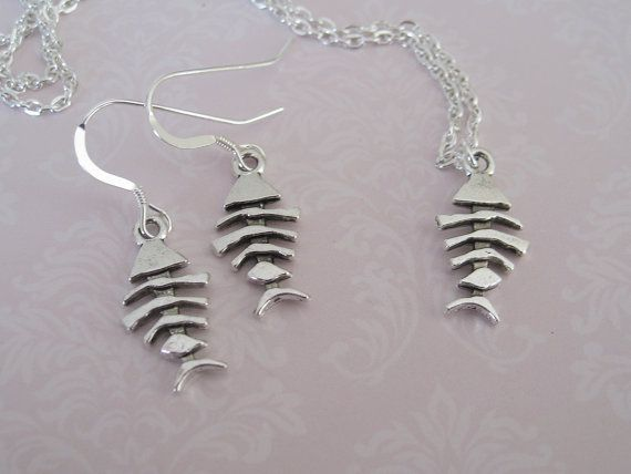 Fish Bone Pendant Silver Chain Necklace and Earrings set by maylui