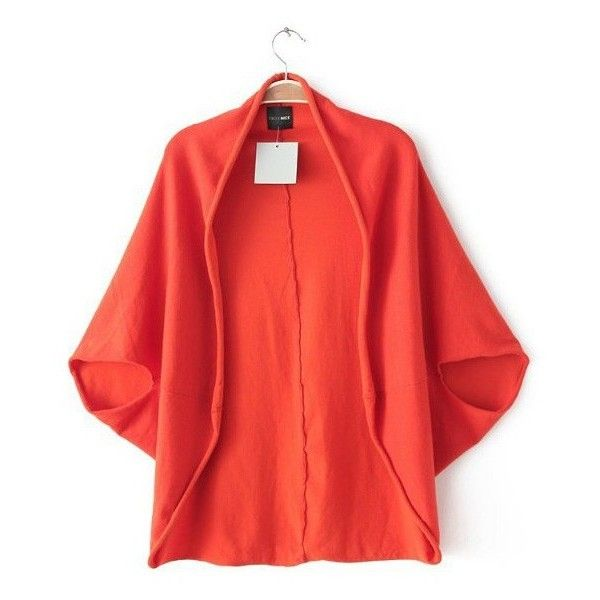 Knitted Batwing Cape Cardigan ($20) ❤ liked on Polyvore featuring tops, cardigans, batwing top, red batwing top, red cardigan, cardigan top and red top