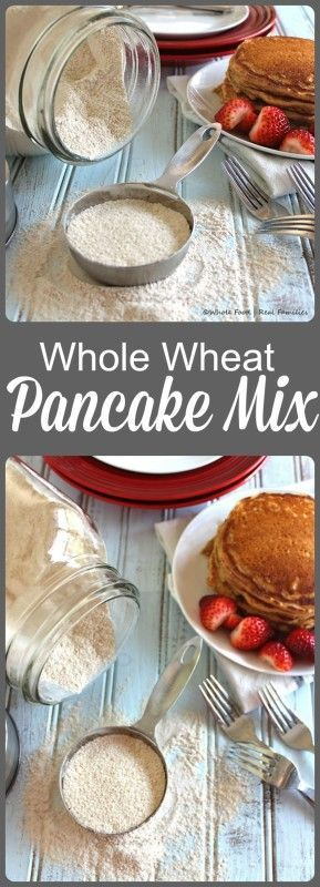 Homemade Whole Wheat Pancake Mix from Whole Food | Real Families. This homemade, healthy recipe for pancake mix makes hot breakfast minutes away with cleanup easy enough for even weekday mornings! Get the recipe at www.wholefoodrealfamilies.com. #thereciperedux