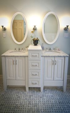 Small Double Vanity For Main Floor Bathroom Not Oval Mirrors Though