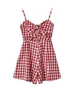 Sweet Style Sleeveless Plaid Jumpsuit