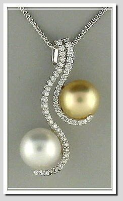 10.8-10.6MM White and Golden South Sea Pearl Pendant Slide w/Chain 18K W Gold 0.