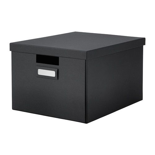 TJENA Box with lid IKEA Perfect for papers, photos or other memorabilia. Easy to pull out and lift as the box is sturdy and has cut-out hand...
