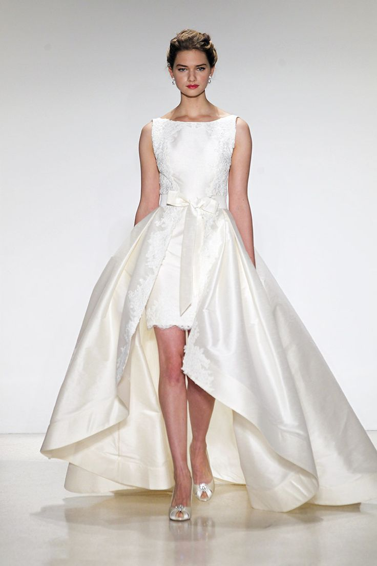 A short lace sheath with a detachable high low skirt from for Short lace sheath wedding dress