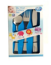 £0.99 - First Steps My First Cutlery Set   3 Piece Set consisting of:  1 X Folk 1 X Smooth edged Knife  1 X Dessert Spoon   All Embossed with Jungle Animal Friends at the End of the Items.