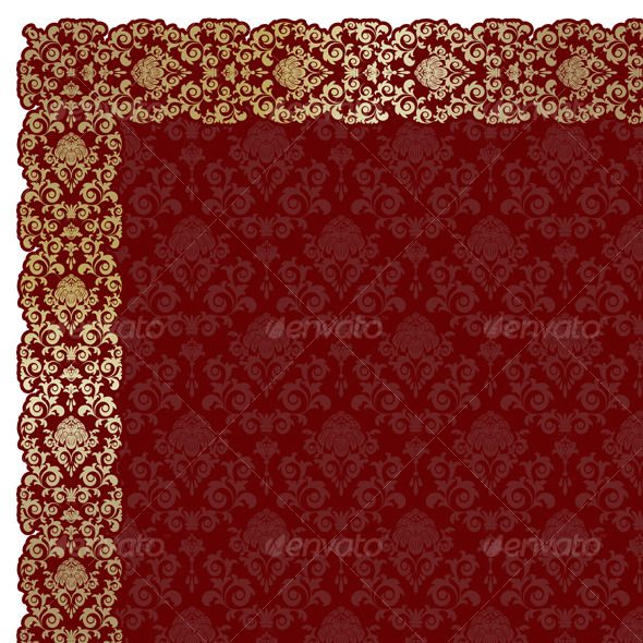 Background  #GraphicRiver         Red background with gold flowers and leaves     Created: 13October10 GraphicsFilesIncluded: AIIllustrator #JPGImage #VectorEPS Layered: Yes Tags: background #curve #decoration #design #floral #frame #gold #ornament #ornate #pattern #red #vintage