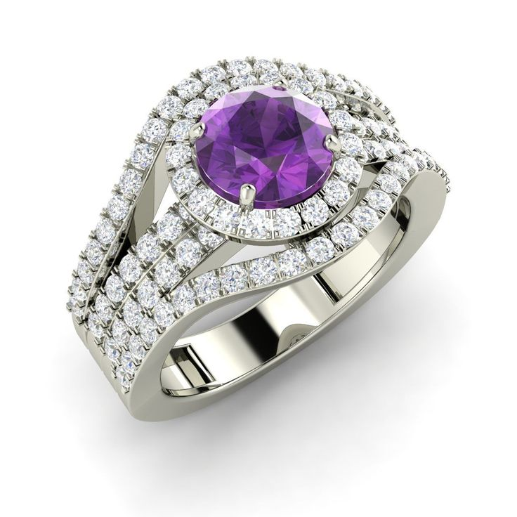 1.90 Ct Certified Round Cut Amethyst & Diamond 14K White Gold Engagement Ring | eBay