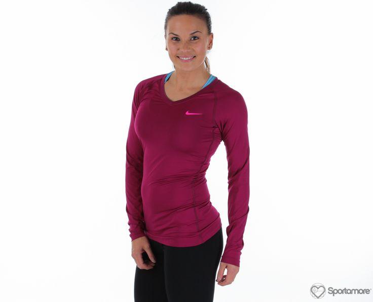 Nike Pro LS V-Neck II Tröjor Funktions T-shirts online   Sportamore.se – Köp billiga kläder på nätet