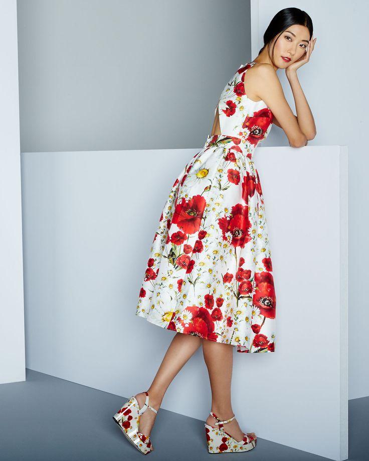 Dolce Gabbana Poppy & Daisy Open-Back Dress