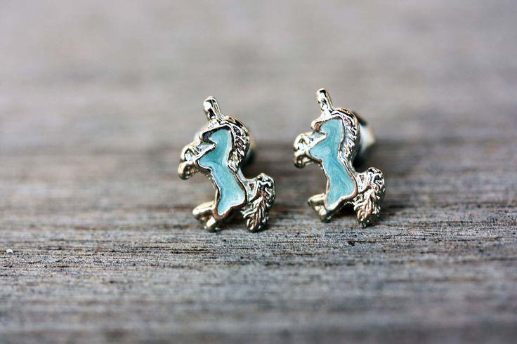 Blue and Silver Unicorn Studs