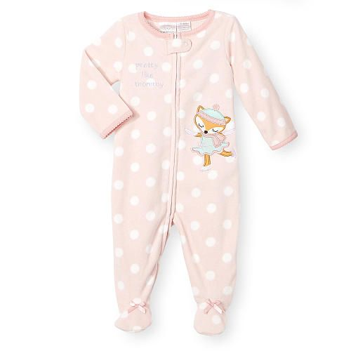 Little ladies can crawl freely in this festive and weather appropriate footie. A cute, playfully polka dotted cut looks darling, while fleece makes this one-piece gem comfy as can be. A dancing fox applique adds endearing charm.<br><br>The Koala Kids Pink Polka Dot Zip Up Fleece Footie<br> Features:<br><ul><li>Includes a girls' long sleeve footie</li><br><li>Designed in pink with white polka dots</li><br><li>Bow detail on each foot</li><br><li>Sweet text on chest</li><br><li>Fox…