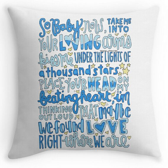 Free shipping Thinking Out Loud Ed Sheeran lyric art (two sides) Pillow Cases  for12x12 14x14 16x16 18x18 20x20 24x24 inch