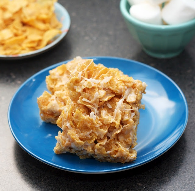 Coconut Marshmallow Cornflake Treats....a different take on rice krispie treats.