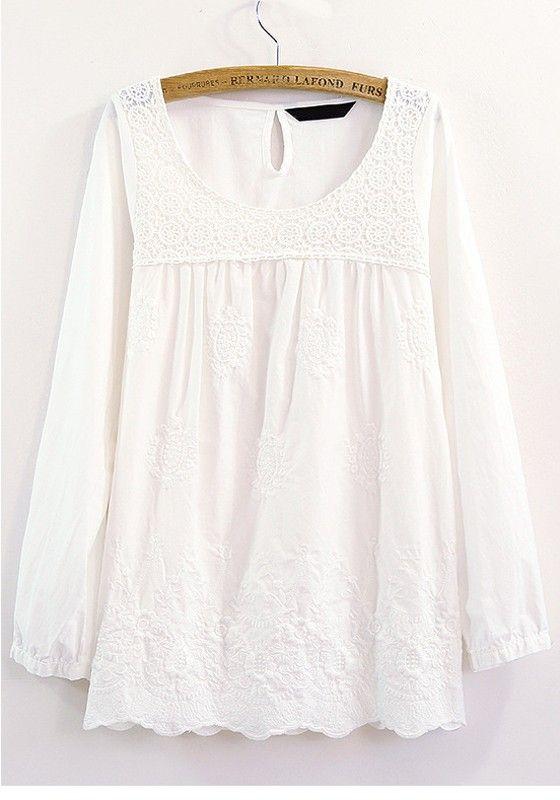 White Patchwork Lace Long Sleeve Cotton Blend Blouse