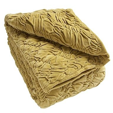 Green velvet ruched throw