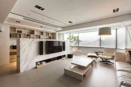 cloison de salon en marbre blanc
