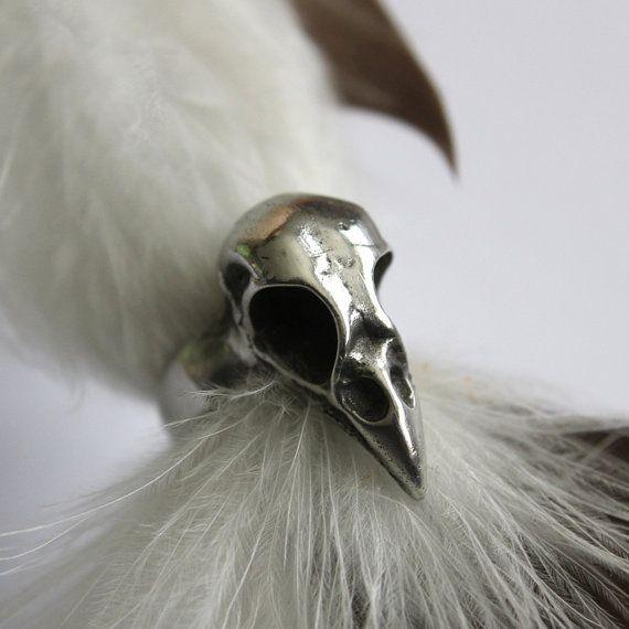 Uccello teschio anello - anello di argento bambino Crow cranio 131