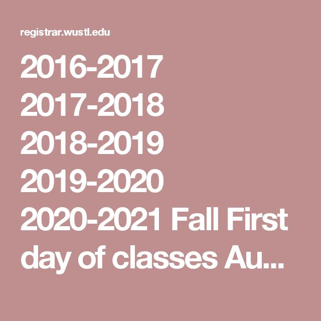 2016-2017 2017-2018 2018-2019 2019-2020 2020-2021 Fall      First day of classes Aug 29 Aug 28 Aug 27 Aug 26 Aug 24 Labor Day* Sep 5 Sep 4 Sep 3 Sep 2 Sep 7 Fall Break* Oct 15-18 Oct 14-17 Oct 13-16 Oct 12-15 Oct 10-13 Thanksgiving Break* Nov 23-27 Nov 22-26 Nov 21-25 Nov 27-Dec 1 Nov 25-29 Last day of classes Dec 9 Dec 8 Dec 7 Dec 6 Dec 4 Reading and Exams Dec 12-21 Dec 11-20 Dec 10-19 Dec 9-18 Dec 7-16 Spring      First day of classes Jan 17 Jan 16 Jan 14 Jan 13 Jan 19 Martin Luther King…