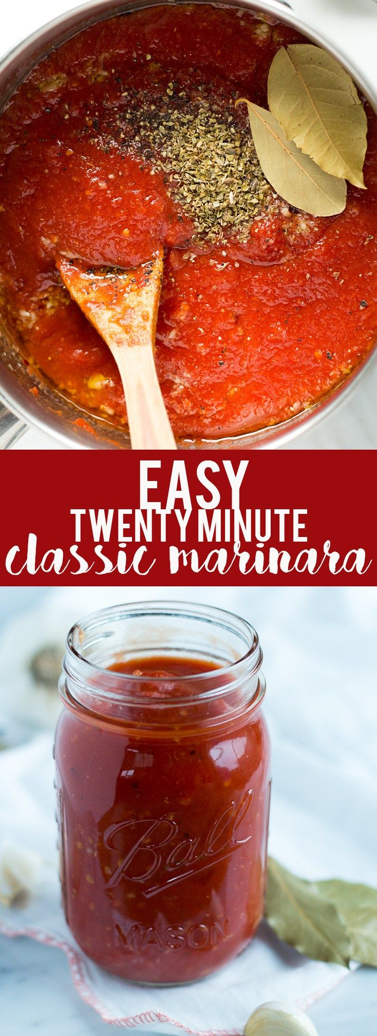 This super quick and easy classic marinara sauce takes twenty minutes to make and uses pantry staples that you probably have on hand now. Great for a weeknight meal with pasta pizza or spaghetti squash!