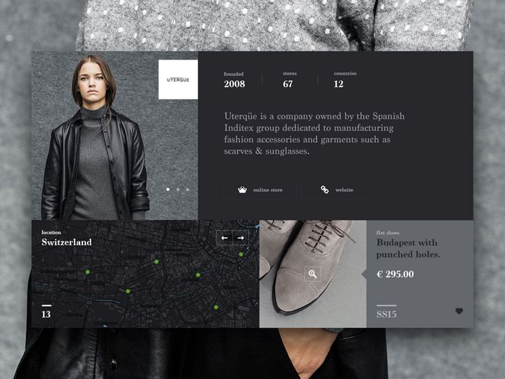 Reimagined a new layout design for showing details of different fashion brands under Inditex Group. This UI gives users a quick overview of basic details of the brand: About - Location (near by) &a...