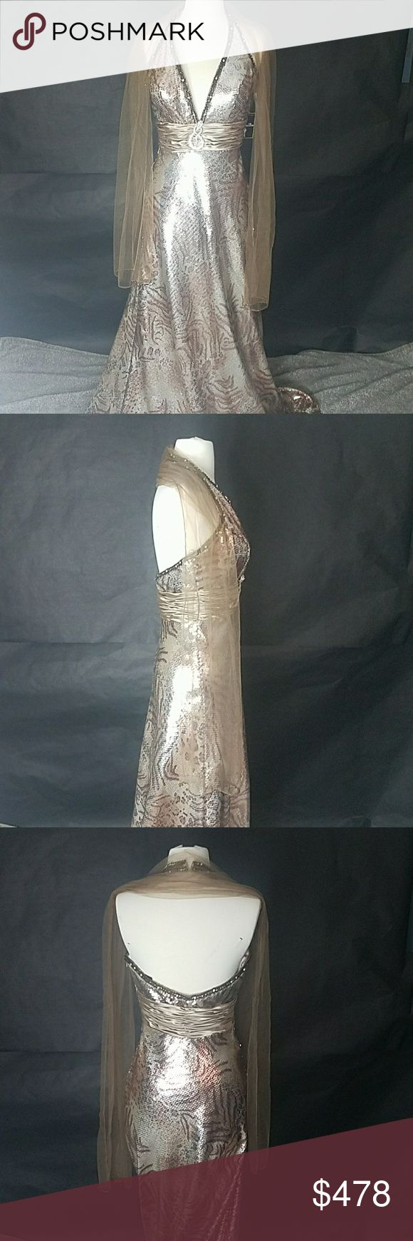 Coli Formal Sequin Animal Print Dress Authentic  Coli Size 6  Originally $578 Great condition Beautiful snake embeleshment on front band of dress  Great for special occassions, as an evening gown, prom, homecoming, charity ball or the red carpet!  AB478 Coli Dresses Prom