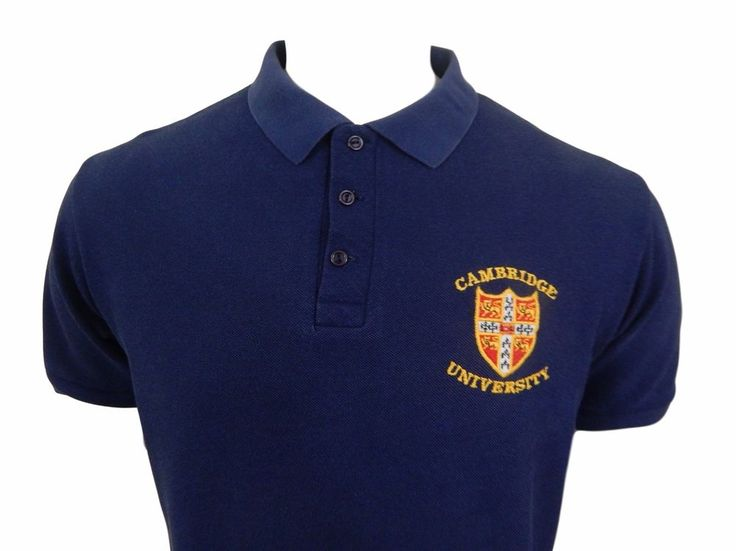 Cambridge University Embroidered Polo Shirt Size L England Cotton Blue Gymflex #Gymphlex #PoloRugby