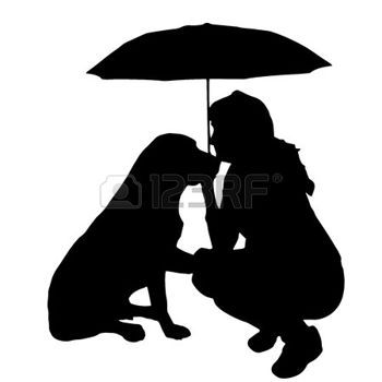umbrella silhouette: Vector silhouette of the woman with the dog.