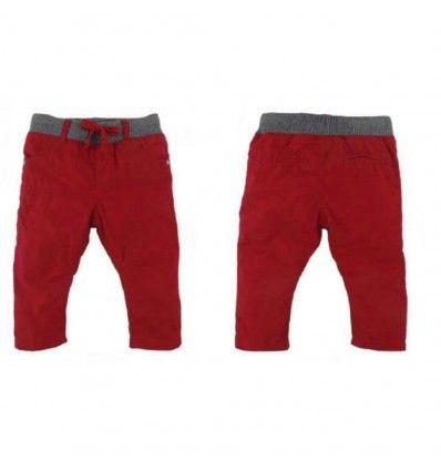 Jual Celana Bayi Anak Topomini - Red Rubber Waist Pants with Cotton Layer - Baju bayi anak branded import Topomini - Red Rubber Waist Pants with Cotton Layer