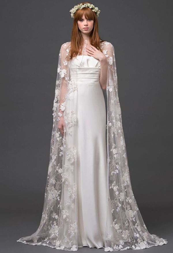 Beautiful Wedding Dresses with Capes | See more on www.onefabday.com