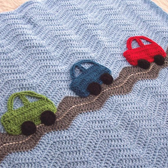 Crochet Cars Ripple Blanket  - A Baby Boy Ripple Afghan in Blue and Gray with Green, Blue, Red Car Appliques - 31 x 33 Size