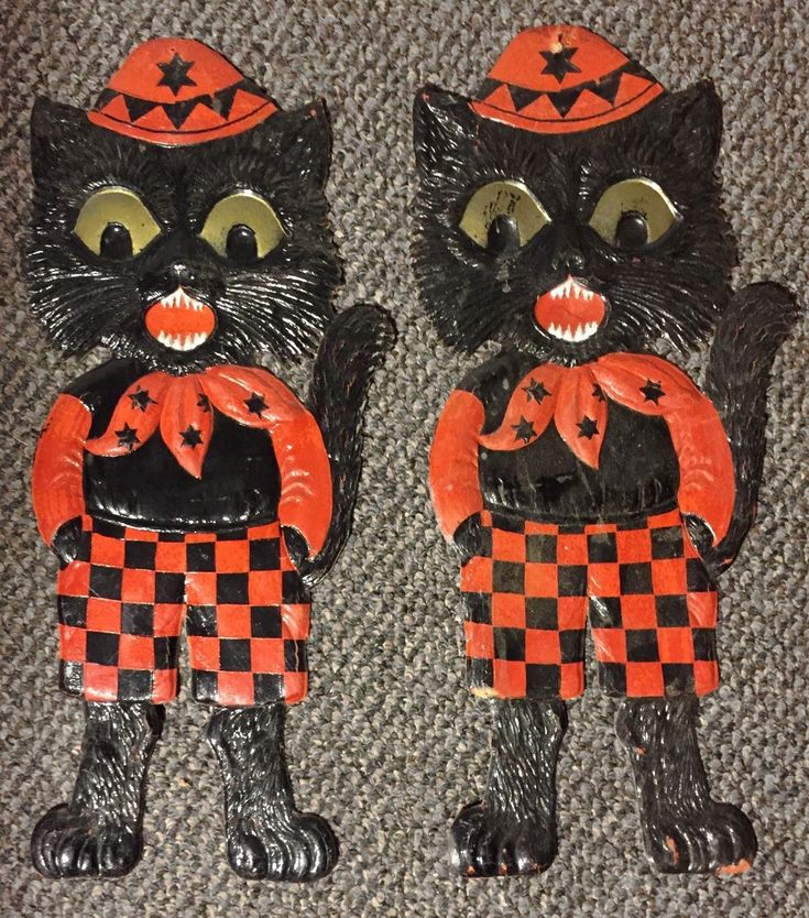 """2 Embossed Black Cats Diecuts Decoration Germany 15.5 """" ($108) 2017 #vintage #Halloween #collectibles #blackcat"""