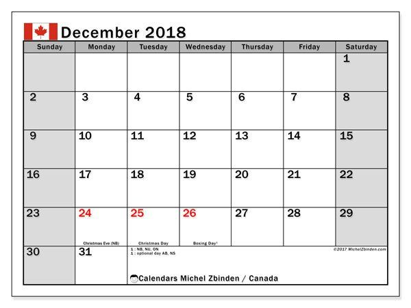 December 2018 Calendar With Holidays Canada Calendar