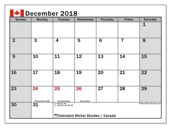 December 2018 Calendar With Holidays Canada December 2018 Calendar