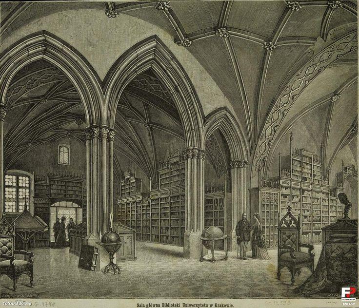 Biblioteka (Libraria), Kraków - 1865 rok, stare zdjęcia