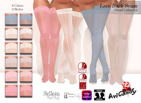 :AC: Lace Back Seam[Pastel Collection]***For Classic Avatars, Slink Physique, Belleza Venus, Maitreya Lara, and Omega**
