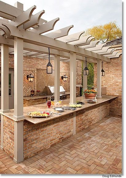 pergola over an outdoor kitchen bar for buffet style parties or for eating in @ Home Improvement Ideas
