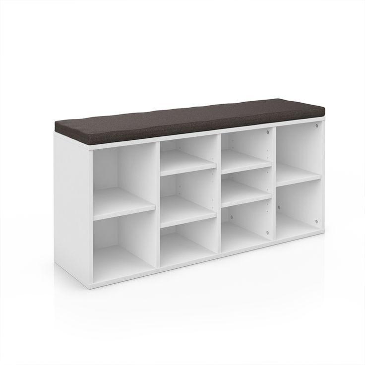 Schuhschrank Schuhregal Schuhablage mit Bank weiß Sitzauflage in graubraun