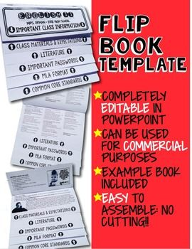 Flip Book Template for Interactive Notebook - Commercial Use Allowed (12-page flip book - uses 3 pieces of paper)Want to make a cool flip chart book for back-to-school? Or a flip book for a novel unit? How about a flip book with math proofs and formulas?