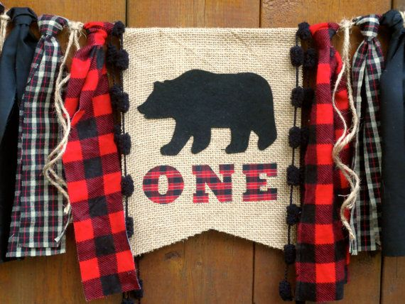 Woodland Bear Birthday Banner Highchair High Chair Lumberjack Buffalo Plaid Red Party Camping Hunting Cabin First Wild One Bunting Garland by