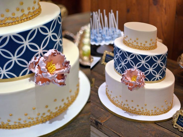 Oval Wedding Cake with Navy Geometric Design and Piped Gold Confetti. Handcrafted Sugar Peony. Images © Carla Reich.