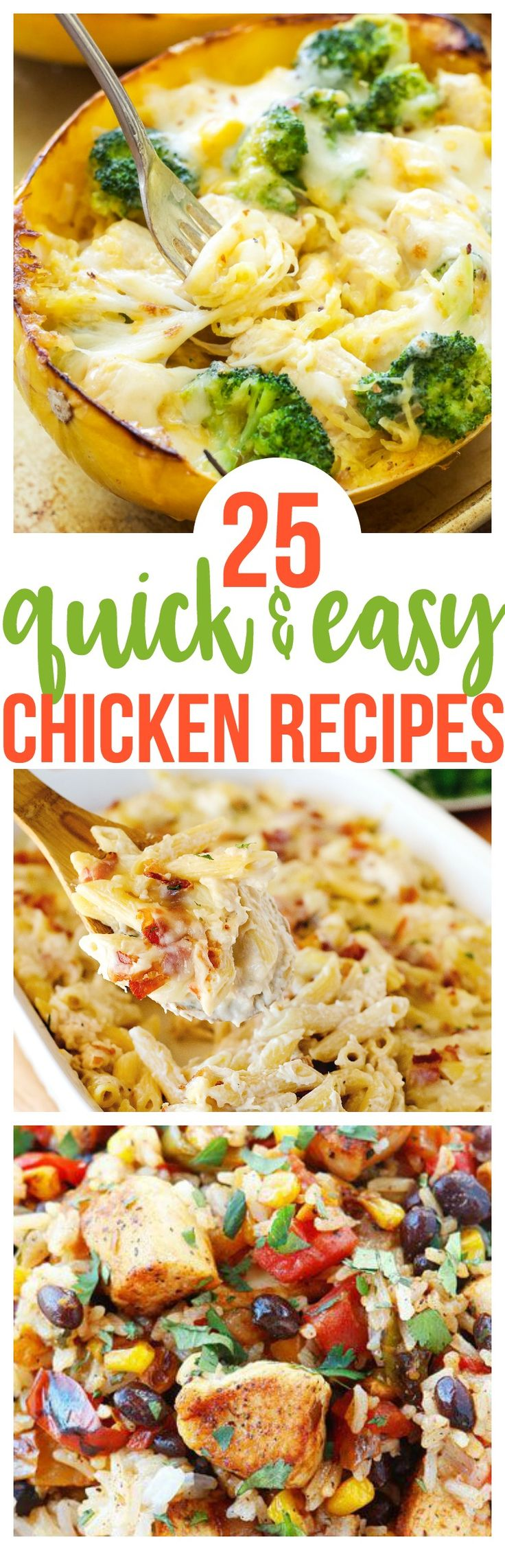 25 Quick and Easy Chicken Recipes must make meal planning your weekly meals or your workout meal plan. Family favorite for picky eaters   via @CourtneysSweets