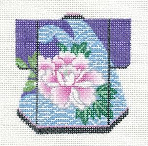 LEE Petite Kimono Blossom handpainted HP Needlepoint Canvas Ornament