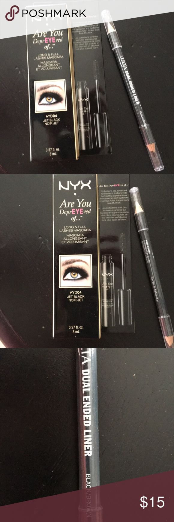 """NYX mascara and free eyeliner NYX jet black """"are you depreyeved of"""" mascara with a free ultra eyeliner NYX Makeup Mascara"""