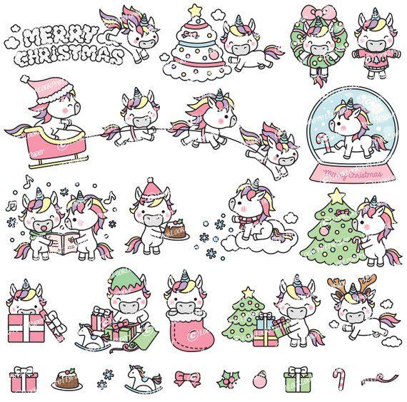 Clipart Weihnachten.Premium Vector Clipart Kawaii Christmas Unicorns Cute Christmas