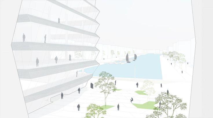 """MVRDV Selected to Design """"Hafenspitze"""" Office Towers in Mainz"""