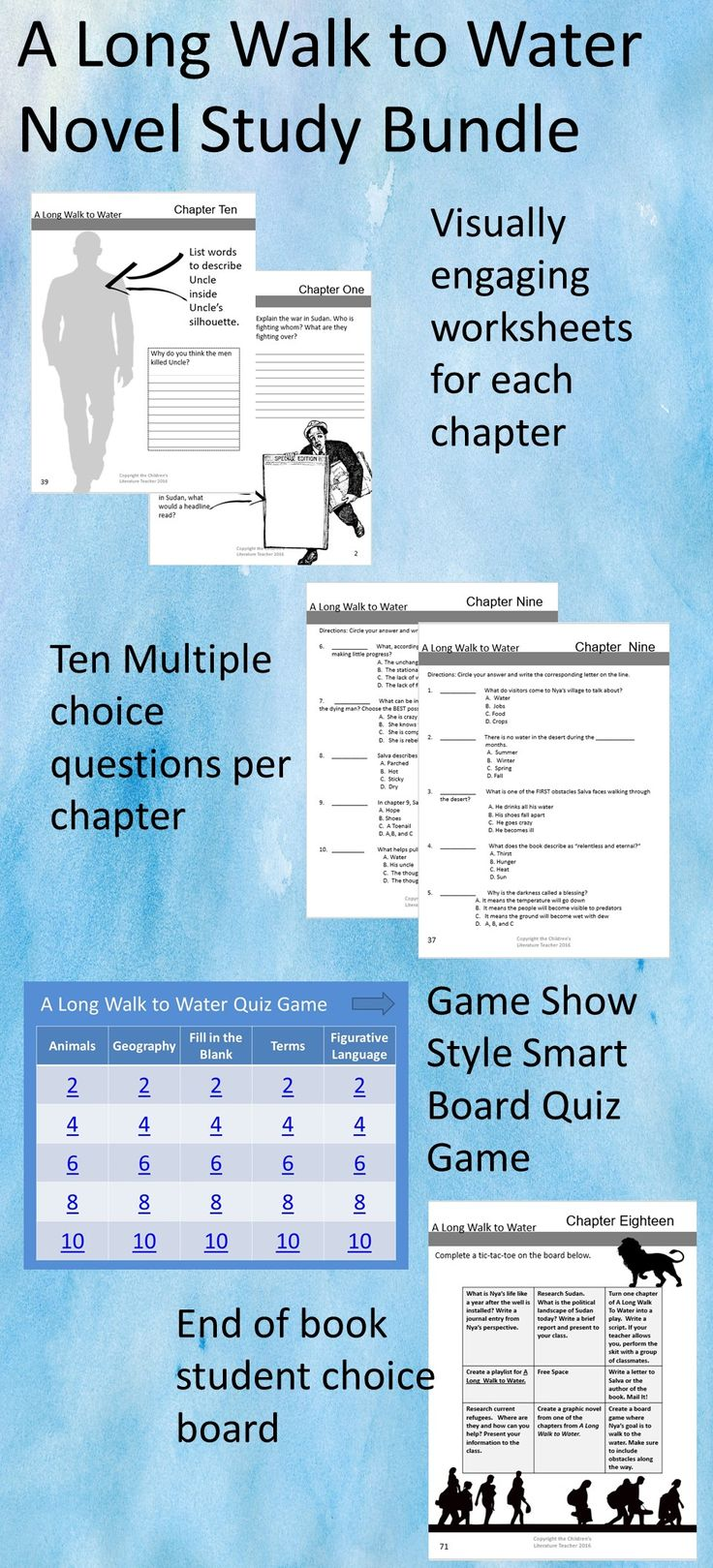 A Long Walk To Water Novel Study Bundle | Teacher plan ...