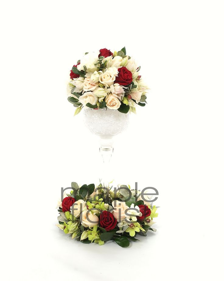 Our White Goblets with Flowers from Maple Florist - Victoria Room, Cropley House