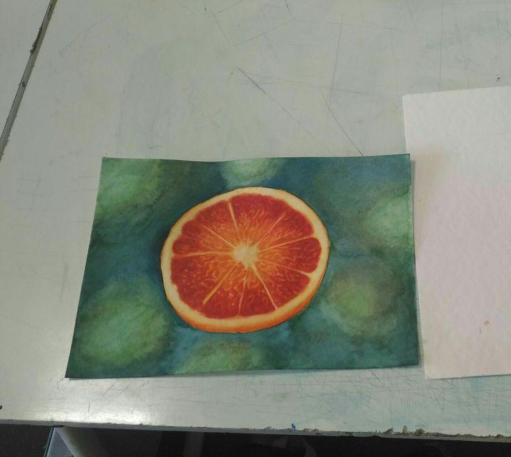 The orange #watercolors#orange#green#work