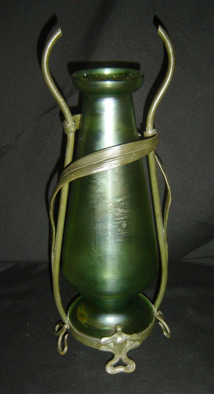 ANTIQUE Art Nouveau Iridescent Glass Vase with Bronze Mount Loetz Style, C.1890 | Antiques, Periods & Styles, Art Nouveau | eBay!