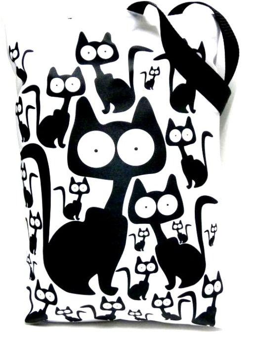 torby XXL - damskie-Duża torba z kotami